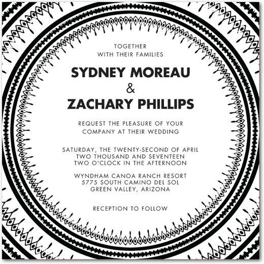 Hochzeit - Global Chic - Signature White Wedding Invitations In Black Or Rust