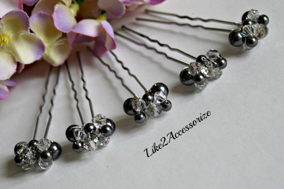 Wedding - Bridal Crystal Hair Pin Bridal Hair Accessories Swarovski Pearl Bridesmaid Hair Clip Wedding Hair Piece Charcoal Dark Grey Hair Pin Set of 5