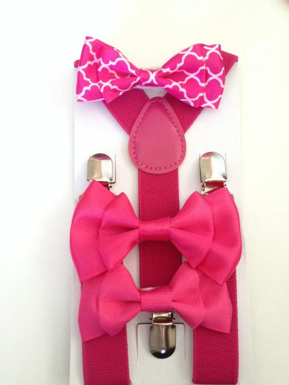 زفاف - Pink Suspender Bowtie Set Fuschia Baby bow tie Suspenders Dark Pink Boys Bowties Toddler Suspenders Mens Fathers day Gift Baby Shower Gifts