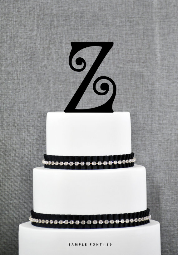 High Quality Personalized Monogram Initial Wedding Cake Toppers  Letter Z, Custom Monogram  Cake Toppers, Unique Cake Toppers, Traditional Initial Toppers