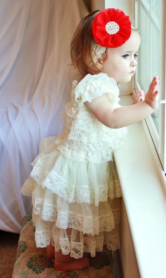 Свадьба - ivory lace baby dress with red headband,ivory Flower girl dress,First 1st Birthday Dress,Vintage style,girs photo outfit
