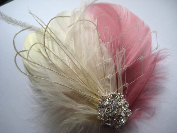 Свадьба - Wedding Bridal Ivory Antique French Pink Feather Rhinestone Jewel Veiling Head Piece Hair Clip Fascinator Accessory