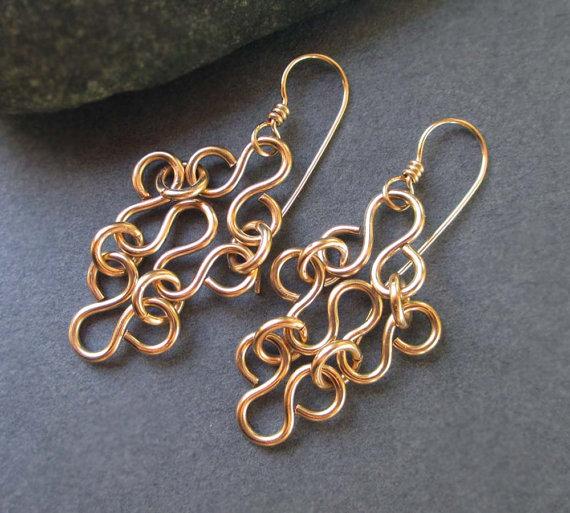 14k Gold Filled Earrings Gold Filigree Earrings Artisan Handmade