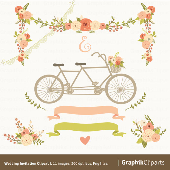 Mariage - Wedding Invitation Clipart I. Floral Garland, Tandem, Flowers Bouquet, Laurels. 11 images, 300 dpi. Eps, Png files. Instant Download.