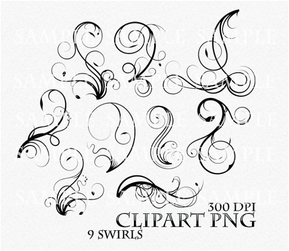 Swirl Clipart Clip Art Vector Flourish PNG Digital Scrapbook Victorian Stamp Fantasy Wedding