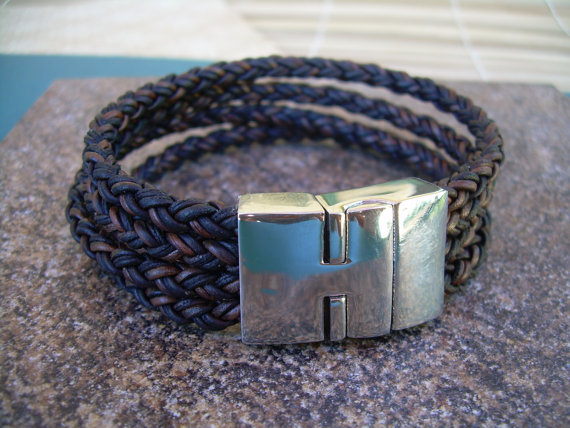 Mariage - Mens Premium Quality Leather Bracelet with a Large Stainless Steel Magnetic Clasp, Leather Bracelet,  Mens Bracelet, Mens Jewelry, Groomsmen