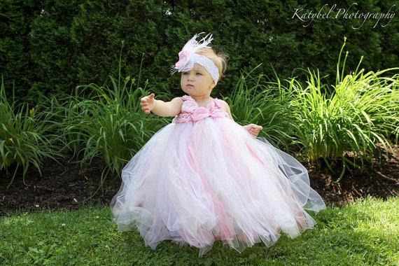 Mariage - Flower girl dress Tutu dress Wedding dress Birthday dress Newborn 2T to 14T
