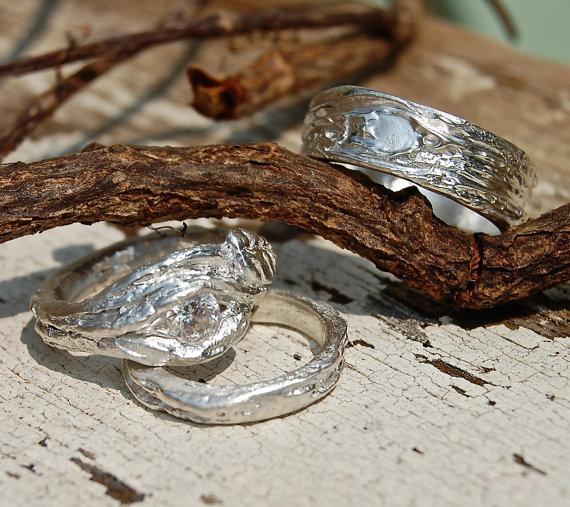 Mariage - Wedding Rings Artisan BRANCH SET White Sapphire Engagement