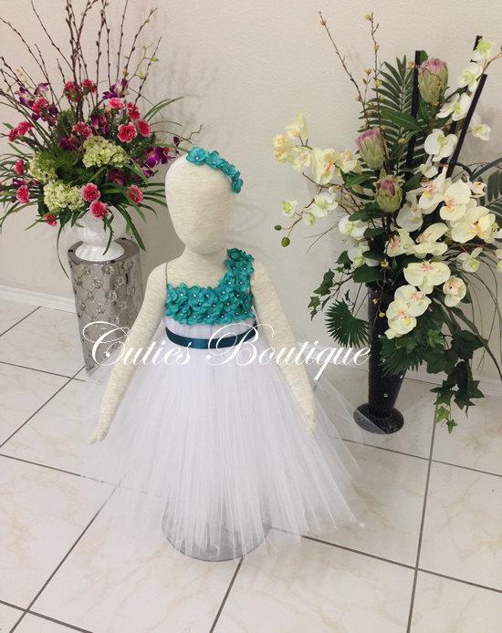 Свадьба - White Dress With Teal Hydrangea Flower Dress Wedding Dress Birthday Picture Prop Yellow Flower Girl Dress