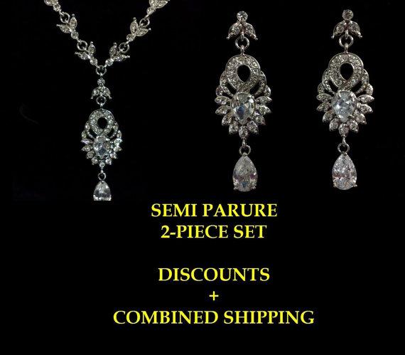 Mariage - Chandelier Bridal Jewelry Set, Art Deco Gatsby Wedding, Art Nouveau Earrings, Swarovski Crystal Necklace, EMPIRES A