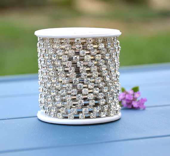 Mariage - 30 Feet 10 Yards SS6 - SS 28 Rhinestone Chain Clear Crystal Silver Plated Wedding Cake Decoration Bouquet Flower Jewelry RC888