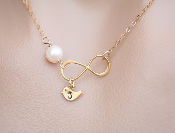 Mariage - Bird necklace,Infinity and birthstone necklace,infinity necklace,Mother necklace,Mother jewelry,customize birthstone,wedding
