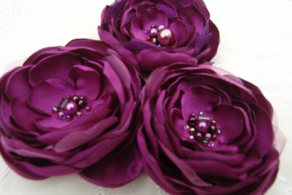 Свадьба - Bridal Sash Plum Bridal Accessory-All ages Flower Clip Headband