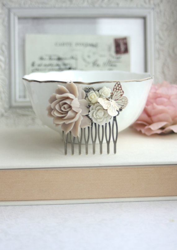 Mariage - Gold Butterfly Wedding Hair Comb. Taupe Brown Rustic Ivory Hair Veil Comb, Vintage Inspired Butterfly Rose Bridesmaids Gift, Garden Wedding.