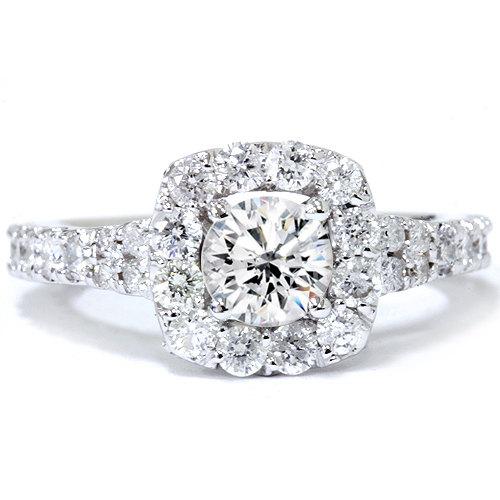 Mariage - 2.30CT Cushion Halo Diamond Engagement Ring 14 karat White Gold