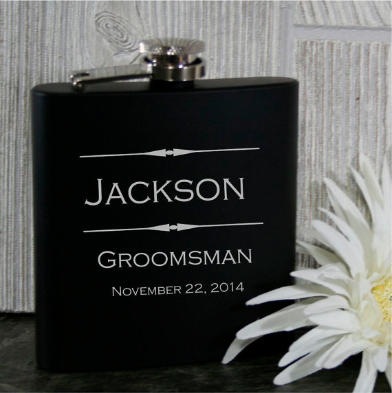 Hochzeit - Groomsmen Flasks - 8 Personalized 6oz Black Stainless Steel Wedding Flasks - Perfect for Best Man, Groomsman, Ushers, Fathers