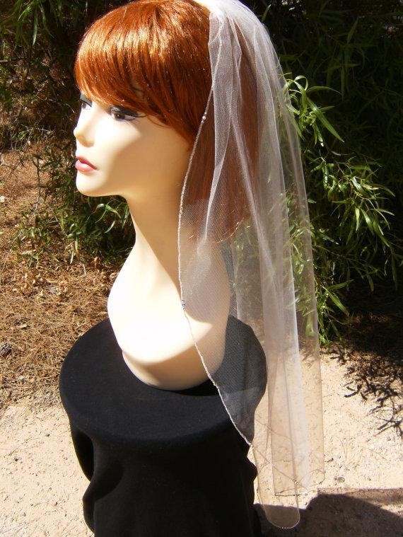 Mariage - Swarovski Crystal Trio Rhinestone Silver Pencil Edge Trim 36 Inch Long Fingertip  Length Veil