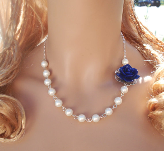 Mariage - Elegant Bridal Royal Blue Rose Flower Pearl Necklace and Earrings - Wedding/ Bridal Jewelry, Asymmetrical Blue Floral Pearl Necklace