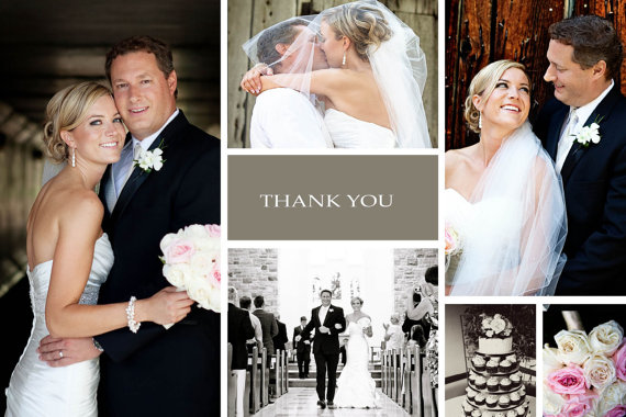 Mariage - Chic Classy Thank You Photo Wedding Cards // Personal Message // Wedding Cake Flowers Collage