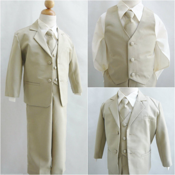 Khaki Taupe Ivory Boy Suits Wedding Party Formal Dress Ring Bearer ...