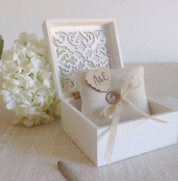 Personalized Ring Bearer Box With Wedding Ring Pillow Ivory Or