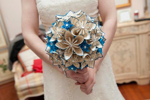 Свадьба - Wedding bouquet of paper flowers- handmade, bridal bouquet, one of a kind, offbeat bride, alternative bouquet