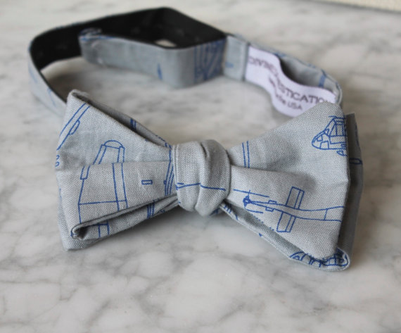 Wedding - Blue and Gray Helicopter Bueprint Bow Tie - Groomsmen and wedding tie - clip on, pre-tied with strap or self tying