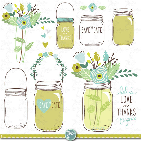 """Wedding - Hand Draw Mason jars Clipart: """"WEDDING MASON JARS"""" clip art Mason Jars,Wedding invitation,save the date, Clip art for scrapbooking Wd034"""