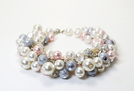 Mariage - Ivory, Pink and Gray Cluster Bracelet, Chunky Pearl Bracelet, Grey Pearl Jewelry, Pink,Ivory and Gray Wedding Combo, Bridesmaid Pink Jewelry