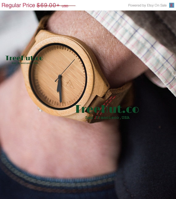 Mariage - SALE Wood Watch, Groomsmen gift, Wedding Gift, Fathers Day Gifts, Anniversary Gifts for Men Wooden Watch HUT007
