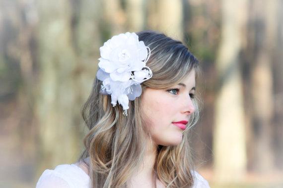 Свадьба - bridal rose head piece white bridal flower bridal hair piece