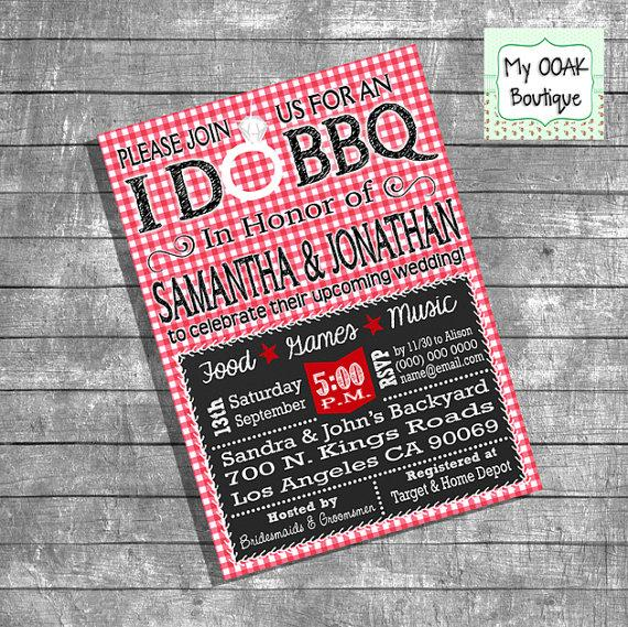 Wedding - Couples Shower invitation engagement I Do BBQ invitation red gingham chalkboard bridal shower invite digital print your own invitation 13191