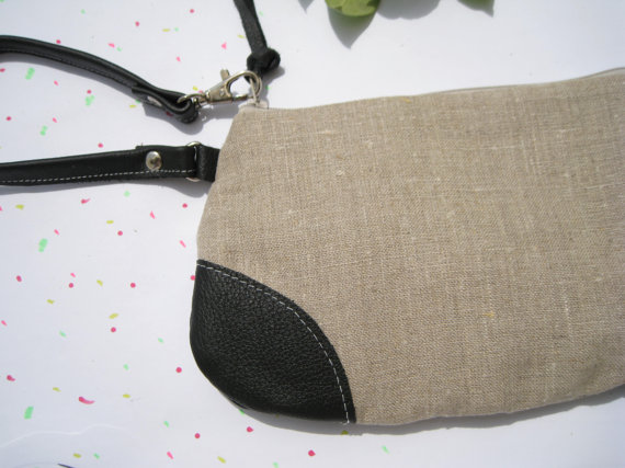 Mariage - Natural Linen Wristlet clutch leather strap gift for her everyday travel wedding clutch bridesmaid clutch