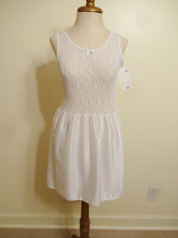 Hochzeit - Vintage Nightgown JC Collections Wedding White Negligee With Mesh Bodice Size 12 Medium New With Tags