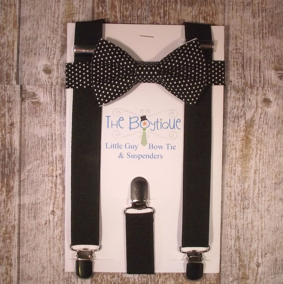 Mariage - Black Bow Tie and Suspenders, Black Polka Dot Bow Tie with Black Suspenders, Toddler Suspenders, Boy Suspenders, Kids, Wedding, Ring Bearer
