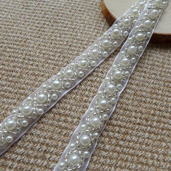 """Mariage - Beaded Lace Trim - Ivory Pearl Beaded Trim 36"""" long 0.43""""wide for Women sashes, Wedding Belt, Costume Jewelry"""