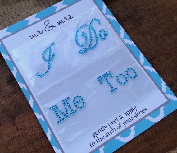 زفاف - Bride/Groom Set - I Do Me Too Rhinestone Shoe Stickers - Wedding Photo Op, Something Blue, I Do Rhinestones, Bridal Shoe Decals- Blue, Pink