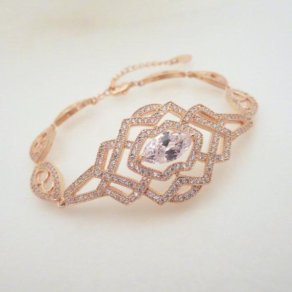 Mariage - Rose Gold Bridal Bracelet, Crystal Wedding bracelet, Bridal jewelry, Rose Gold Cuff bracelet, Art Deco Wedding bracelet, Rhinestone bracelet