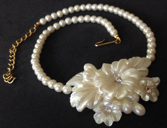 Plastic Gardenia Bridal Necklace U2013 1960s Faux Wax Flowers Jewelry
