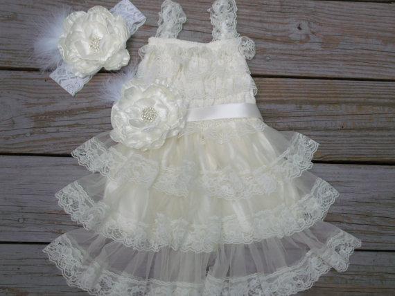 Свадьба - Ivory Lace Flower Girl Dress -Lace Flower Girl Dress-Vintage Flower Girl Dress-Shabby Chic  Flower Girl Dress-Flower Girl Dress