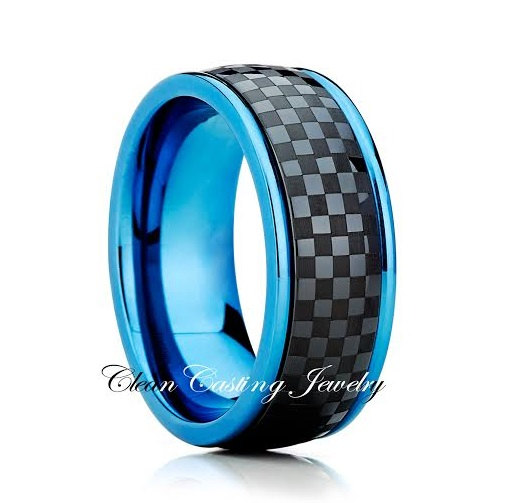 Titanium Wedding BandBlue Titanium RingTitanium Wedding RingCheckeredAnniversary Ring