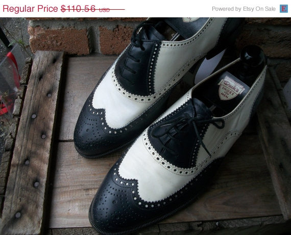 8d33062ba66e9 SALE Vintage Moreschi Italy Spectators long wingtip Vintage Black White  leather shoes leather soles .