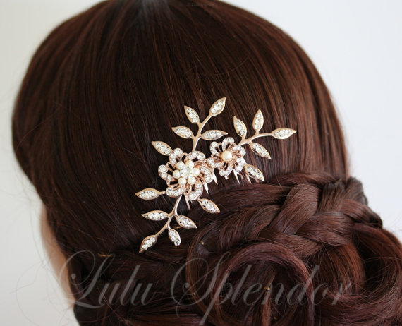 Bridal Comb Rose Gold Flowers And Leaves Swarovski Crystal ...