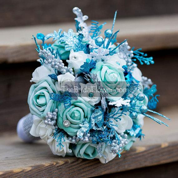 Frozen Disney Themed Winter Wedding Bouquet With Turquoise White Aqua Teal And Silver Glitter Accents Snowflakes