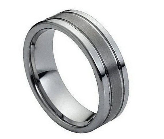 add6a77cf0bd 8MM Tungsten Wedding Band Comfort Fit Flat Double Grooved Brushed Center  Promise Engagement Ring for Men Women SNUJDTZEP