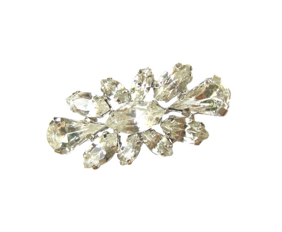 Hochzeit - 5 Crystal Rhinestone buttons for Wedding Invitation Card Shoe Clip Gift Box Hair Accessories RB-116 (28/15mm or 1.1/0.6inch)