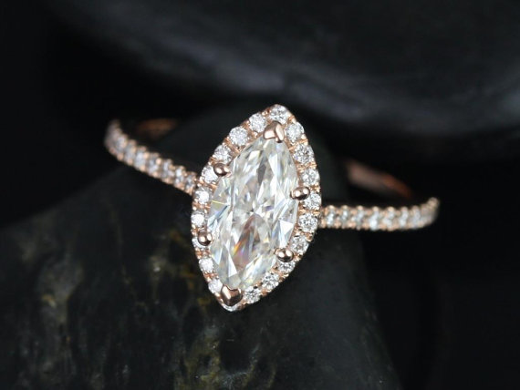زفاف - Sasha 10x5mm 14kt Rose Gold Marquise FB Moissanite and Diamond Halo Engagement Ring (Other Center Stone Available Upon Request)