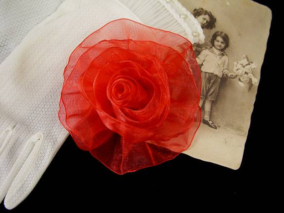 Свадьба - Organza Rose in Red - Handmade Ribbon Flower Pin, Brooch, Hair Clip, Shoe Clips - Pick Your Color