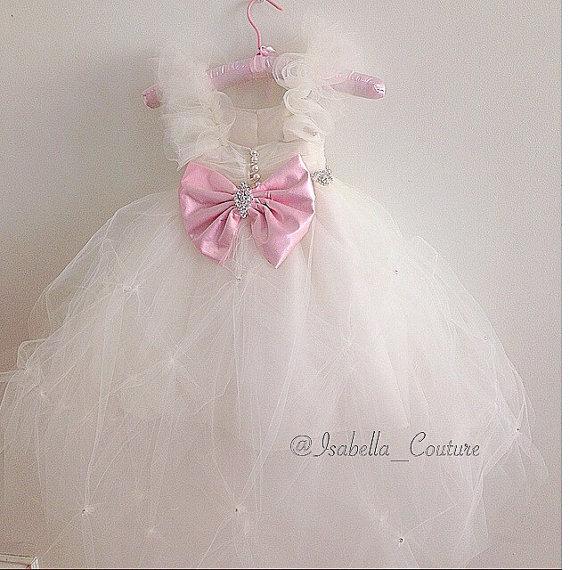 Mariage - Miss Dior CAPRI DRESS by Isabella Couture - Flower Girl Dress - Girls Lace Dress - IVORY Dress - Big Bow Dress - Wedding Dress