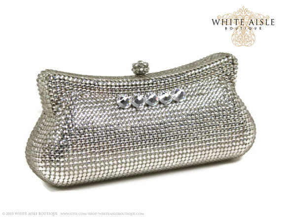 Wedding - Crystal Clutch, Bridal Clutch, Silver Minaudiere, Wedding Purse, Evening Bag, Austrian Crystal Clutch, Luxury Clutch